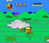 The Simpsons: Bart's Nightmare SNES Bartman flies through the translucent clouds, taking down Krusty the Klown balloons