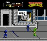 Teenage Mutant Ninja Turtles NES The Turtles take it to the street, while April cries out for help on the TV