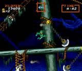 Super Ghouls 'N Ghosts SNES Boarding a ghost ship with multiple swinging guillotines