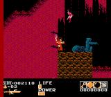 Demon Sword NES Level 2-2, against a fiery night sky