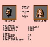 Defender of the Crown NES You and your new bride on the status screen.
