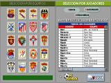 PC Fútbol DOS Database: Team or Player selection