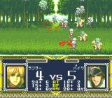Der Langrisser PC-FX Fighting in a forest. Uh-oh, things don't look too well...