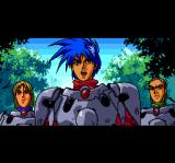Startling Odyssey II: Maryū Sensō TurboGrafx CD Cut scene. Robin and his comrades in a forest