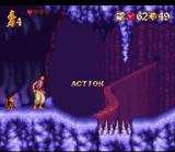 Disney's Aladdin SNES The cave has a beautiful background.