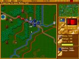 Perfect General II DOS Zoomed-in view of the battlefield (enemy holding the village)