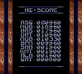Stargate Game Gear Hi-Score tables.