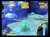 Super Monkey Ball 2 GameCube Those floating blobs try to knock monkeys off the path