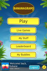 Bananagrams iPhone Main menu screen