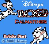 Disney's 102 Dalmatians: Puppies to the Rescue Game Boy Color Title screen (German version)