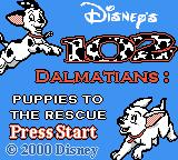Disney's 102 Dalmatians: Puppies to the Rescue Game Boy Color Title screen (English version)