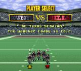 NFL Quarterback Club SNES Player select