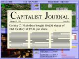 Capitalism DOS Breaking news - displayed traditionally (for this game genre) as newspaper