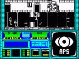 Sector 90 ZX Spectrum Just opened a barrier, another key nearby. 2 Missiles and 2 enemies onscreen. Note 4 puzzles held / ready for play in bottom 5 black spaces in panel