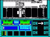 Sector 90 ZX Spectrum  Playing one of the key puzzles (right hand part of panel). Robots still firing during puzzle-play. Hit OFF 3 times, arrow alternates left right and goes faster each time it goes down. Very hard