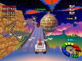 Motor Toon Grand Prix PlayStation Jumping from a ramp.