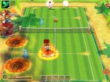 Fantasy Tennis Windows Battle mode: my opponent just sent a meteor shower, but the 20 damage I got for losing the point. Notice the blue crystals, they contain the spells.