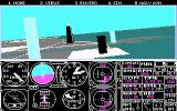 Microsoft Flight Simulator (v3.0) DOS Flying around a bit (CGA 320x200 4 color)