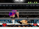 WCW vs. the World PlayStation Throwing down the opponent.