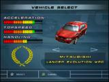 WRC: FIA World Rally Championship Arcade PlayStation Vehicle select screen