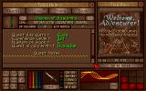 Amulets & Armor DOS The mission screen. You can choose the mission you want to go on next, buy and sell items such as enchanted rings and axes of mayhem at the store, and rest at the inn.