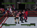 WWF Attitude PlayStation Four wrestlers fighting.