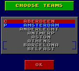 Sensible Soccer: European Champions: 92/93 Edition Game Gear Team choosing