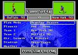 John Madden Football '93: Championship Edition Genesis The game set-up menu.