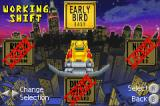 "Smashing Drive Game Boy Advance Difficulty select. As you can see, you only start with the ""Early Bird"" (Easy) difficulty level"