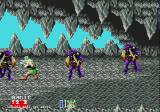 Golden Axe II Genesis In the cave, three ninjas try to bring the dwarf down