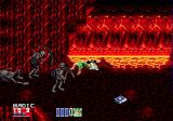 Golden Axe II Genesis Skeletons on a lava background, magic is scattered around