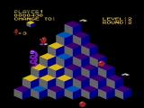 Q*bert NES Riding a disc to the top of the pyramid