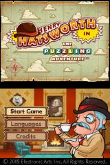 Henry Hatsworth in the Puzzling Adventure Nintendo DS Title screen complete with awesomely pompous music.