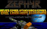 Zephyr DOS Main menu (German). The cannon at the bottom turns to the selected option and shoots when clicked.