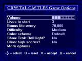 Arcade's Greatest Hits: The Atari Collection 2 PlayStation Crystal Castles game options
