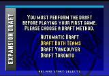NBA Live 96 Genesis Draft. There are two new teams - Raptors and Grizzleys.