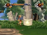 Disney's Hercules  PlayStation Hercules breaking a column with his fists.
