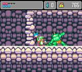 Monster World IV Genesis Fighting a big bad green thing