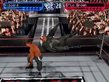 WWF Smackdown! 2: Know Your Role PlayStation Viscera jumping from the ropes on D'Lo Brown.