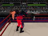 WWF War Zone PlayStation Kane lifting Triple H.