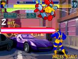 X-Men: Children of the Atom DOS Cyclops' Optic Blast. It will hit at any place of the beam, therefore unlike a projectile you don't have to time your shot so that it intercepts a jumping enemy at his landing point.