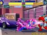 X-Men: Children of the Atom DOS Psylocke's Psi-thrust is her Hyper X move. As it does not fully consume the power bar, you can chain with a second one during its execution.