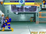 X-Men: Children of the Atom DOS One of Storm's air regular moves releases a relatively slow electric ball in the air. You can spot Professor X behind the glass, watching over the fighters.