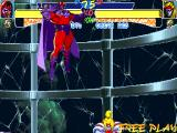 X-Men: Children of the Atom DOS Magneto and Storm have the possibility to fly and therefore attack the enemy while hovering. Flying only stops after a while, if you are hit by an enemy or if you do the fly move again to land.