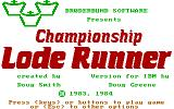 Championship Lode Runner PC Booter Title Screen