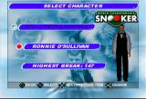 World Championship Snooker PlayStation Select Character