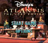 Disney's Atlantis: The Lost Empire Game Boy Color Main menu