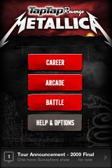 Tap Tap Revenge: Metallica iPhone Main Menu