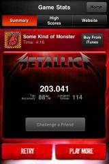Tap Tap Revenge: Metallica iPhone 88% accuracy - not bad for that shitty song.