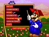 Mario Teaches Typing 2 Windows The main Options menu let you access the Guide Book and Lesson Times screens, as well as turn the music, the sound effects and the talking Mario head on or off.